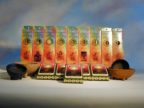 incense sticks natural oils and resins in the following fragrances: pinon sage, cedar, copal, sage, white sage, sweetgrass, sweetgrass sage, amazonian, handmade in Taos NM, all natural